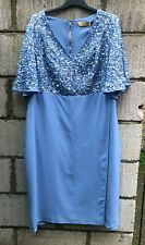 BNWT MAYA BY ASOS BLUE SEQUIN PARTY PROM WEDDING GUEST PENCIL DRESS SIZE 24 ♡♡♡