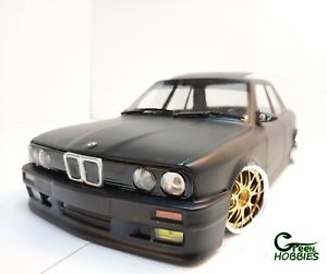RC 1/10 BMW E30 Flat Black 4 Doors CUSTOM PAINTED BODY w/Led & Wheels Drift car