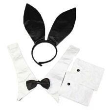 Sexy Lady Bunny Rabbit Playboy Black Party Costume Set Ear Collar Gloves