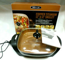 "Bella Copper Titanium 12"" X 12"" Electric Skillet - EUC - 1200 Watt - BPA Free"