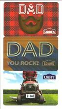 Lot (3) Different Lowes Father's Day Dad Mower Gift Cards No $ Value Collectible
