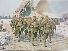 Antique Print, World War I, East Lancashire Lads Going Forward in France