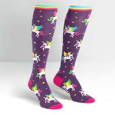 Rainbow Unicorns on Women's Knee High Purple Socks by Sock It To Me -