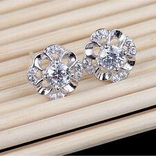 Pretty Women Bling Living Flowers Stud Earrings Crystal Stud Earrings Jewelry
