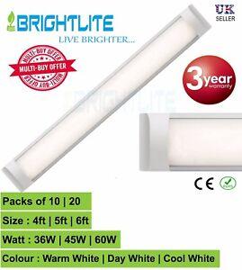 PACK OF 10 / 20 LED BATTEN SLIMLINE TUBE LIGHT WALL OR CEILING MOUNT 4ft 5ft 6ft