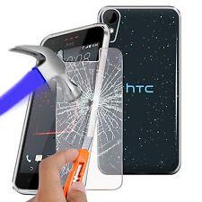Per HTC Desire 825-Ultra Durevole chiaro TPU GEL SKIN CASE COVER & Vetro