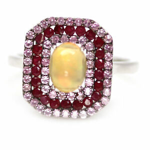 NATURAL 6 X 8 mm. MULTICOLOR OPAL, SAPPHIRE & RUBY 925 STERLING SILVER RING SZ 9