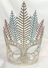 Queen Rhinestone Pageant Crown Tribal Feather Showgirl Native Tiara Mardi Gras
