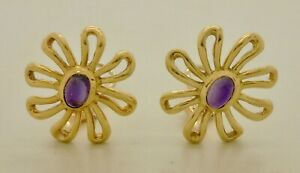 Vintage Tiffany & Co. Paloma Picasso Daisy Amethyst Yellow Gold Clip Earrings