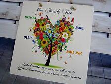 Handmade Personalised Family Tree Wall Plaque Gift Retro Anniversary Birthday