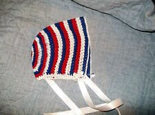 BABY GIRLS BONNET HAT Size NB to 3 Months Crochet Red White & Blue