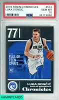 2018 PANINI CHRONICLES Luka Doncic #512 ROOKIE RC PSA 10 GEM MINT