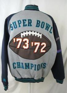 Miami Dolphins Men Large Full Zip 2 Time Super Bowl Championship Jacket ADOL 196