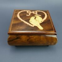 Vintage Inlaid Italian Woodwork Heart & Two Birds Sankyo Music Jewelry Box