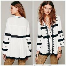 FREE PEOPLE~$128.00~WHITE~BLACK FLORAL EMBROIDERY *BOHO-INSPIRED TUNIC* S (RARE)
