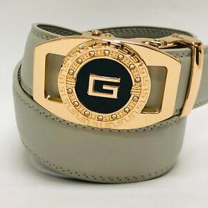 Men's Designer Leather Dress Jeans Belt Sliding Blue Automatic Gold G Buckle NEW