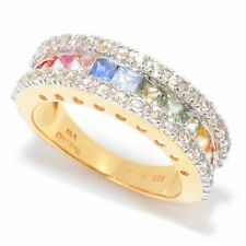 Meher's Jewelry Vermeil SS 2.74ct Multi Color Sapphire & White Zircon SS Ring