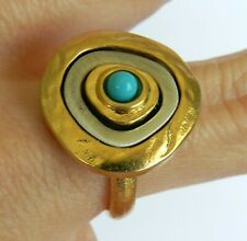 Designer Silver 925 Gold 24K Plated 3 Circles Abstract Ring Turquoise Bead Sz 8