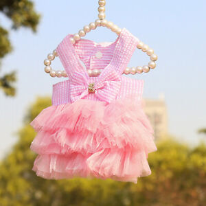 Girl Dog Clothes Costume Apparel Pink Princess Dress Tutu Lace For Female Yorkie