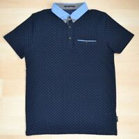 Auth Ted Baker Navy Dotted Polo Shirt w/ Blue Dotted Contrast Collar Size 1-4