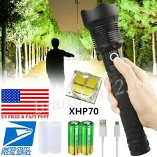 350000 Lumens Zoomable XHP70 LED USB Rechargeable Flashlight Focus Bright Torch