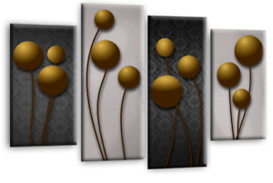 """FLORAL WALL ART GOLD GREY BLACK FLOWER PRINT 4 PANEL CANVAS ABSTRACT 44"""" X 27"""""""