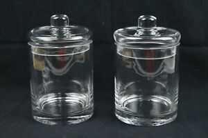 Glass Apothecary Jars w/Lids Vanity Set of 2 - NICE