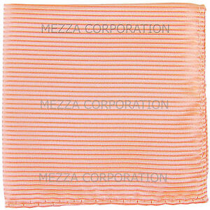 New polyester woven thin striped pocket square hankie handkerchief peach formal