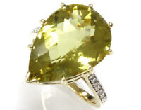 10.15 ct tw Natural Lemon Quartz & Diamond Solid 14k Yellow Gold Cocktail Ring