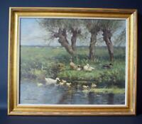 Constant Artz Signed Oil Painting with Ducks and Cows Dutch School