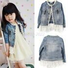 2-7T Girls Baby Lace Button Jean Coat Cowboy Denim Jacket Top Kids Costume