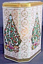 "CHRISTMAS TREE Octagonal Tin w Lid GOLD & WHITE 7"" Tall  X 6"" Free Ship"