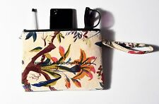 Hand Bird Print Indian Velvet Pouch Jewelry Bags With Zip Women's Handbags Purse