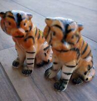 Vintage  Bengal Tigers Ceramic Figurines Japan (?) Phenomenal glaze