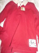 nwt Crazy 8 red collared long sleeve skill applique shirt boys 5 6 free ship USA