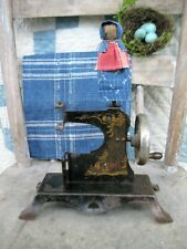 Antique Toy Sewing Machine with Clothespin Doll Dressed in 1890s Calico