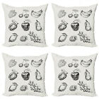 Ambesonne Fruit Art Cushion Cover Set of 4 for Couch and Bed in 4 Sizes