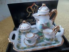 Reutter porcelain Dolls House 1:12th Scale Duck Tea Set on Tray 16138