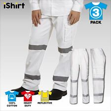 3 X CARGO PANTS TROUSERS WITH REFLECTIVE TAPE 100% COTTON DRILL SAFETY WORKWEAR