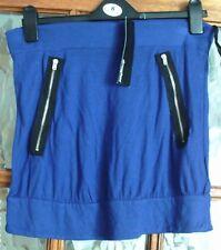 BNWT ATMOSPHERE Silver Tone Biker Zips COBALT BLUE Strapless Boob Tube Top 12