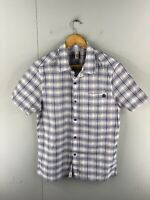 Element Men's Short Sleeved Button Up Shirt Size M Blue Check