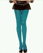 Black & Turquoise Blue Striped Opaque Costume Tights Pantyhose Dance Halloween