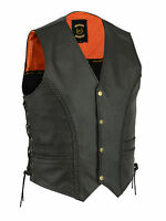 New Mens Braided Leather Motorcycle Biker Style Waistcoat Vest Black Side Laces