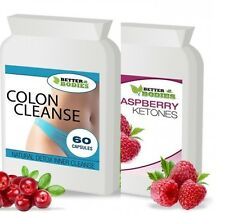60 Raspberry Ketone + 60 Colon Cleanse Weight Loss Slimming Diet Pills Tablets