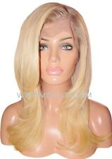 Human Hair Wig Full Lace 18 Long Wavy 150% Silk Top Blonde Roots 9 60 613 Moklox