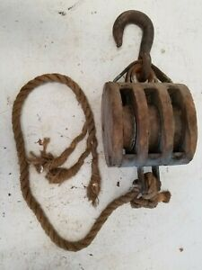 Antique Ship Triple Wood Tackle Block, Steel Pulley Sheaves, Wrought Iron Hook