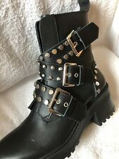Zara Boots $120  Shoes Leather 7.5 (38) Silver Studs Buckles NWT