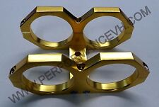 Gold Dual Bosch 044 Fuel Pump Mounting Bracket Clamp cradle In-line