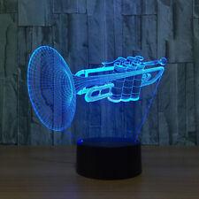 3D Trumpet Music Night Light 7 Color Change LED Desk Lamp Touch Room Decor Gift