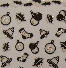 Nail Art 3D Sticker Silver Crystal Black Christmas Decor Bell Sock 73pcs/sheet
